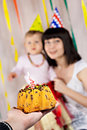 First birthday cake one candle mother baby background Stock Photography