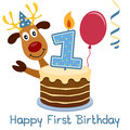 First birthday cute reindeer happy greeting card with a a cake with numbered candle a red balloon and a blue streamer Stock Images
