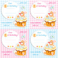 First birthday invitation card set boy girl plaid striped Stock Images