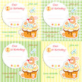 First birthday invitation card set plaid striped background Royalty Free Stock Photo