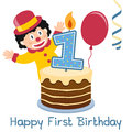 First birthday little clown happy greeting card with a funny a cake with numbered candle a red balloon and a blue Stock Photo