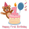 First birthday teddy bear happy greeting card with a cute a cake with numbered candle a blue balloon and a red streamer Royalty Free Stock Photo
