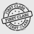 First Class rubber stamp isolated on white. Royalty Free Stock Photo