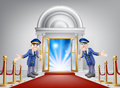 First class treatment conceptual illustration a venue entrance with a red carpet and red velvet rope and two friendly doormen in Stock Photos