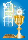 First communion background with characteristic symbols of holy Stock Photo