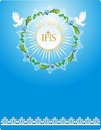 First communion background with characteristic symbols of holy Stock Images