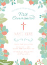First Communion, Baptism, Christening Invitation Template with Floral Border Royalty Free Stock Photo