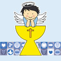 First communion card angel on the holy grail Royalty Free Stock Photography