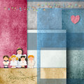 First communion card children angel cheerful background papers Royalty Free Stock Photography