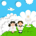 First communion card funny, brown pair of children Royalty Free Stock Photo