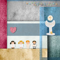First communion cute invitation card children calyx Stock Photo