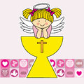 First communion girl card angel in the holy grail Royalty Free Stock Photography