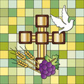 First communion illustration for with cross dove grain and grapes Stock Photo