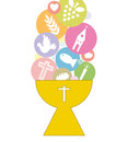First communion invitation card icons Stock Images