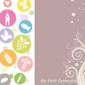 First communion invitation card space for photo or text Royalty Free Stock Photo
