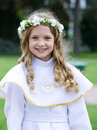 First Communion - smiling girl Stock Photography