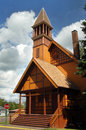 First congregational church gold wooden painted is an example of victorian stick architecture is located in lake linden Stock Image