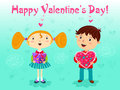 First date girl and boy with gifts valentines day vector Stock Photos