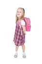 First day at school portrait of a happy schoolgirl with pink backpack over white Royalty Free Stock Photography