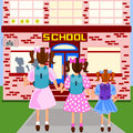 First day of school three sisters are arriving at their all dressed up and carrying their backpacks Stock Photos