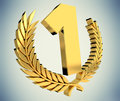 First golden price icon 3D rendering