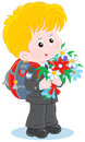 First grader little schoolboy with a schoolbag and holiday bouquet of flowers Stock Photo