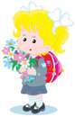 First grader little schoolgirl with a schoolbag and holiday bouquet of flowers Stock Photography