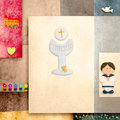 First holy communion invitation reminder sailor boy blank space text Stock Images