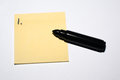 First idea sticky note and pen yellow with number one ready for the in brainstorming thinking with black Stock Photo