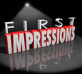 First impressions spotlight introduction debut meeting new people words in d letters under a as an to a or Royalty Free Stock Photography
