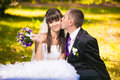 First kiss in cheek groom kissing brunette bride Royalty Free Stock Photos