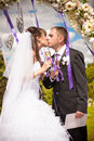 First kiss newly married couple kissing under wedding arch Royalty Free Stock Images