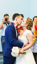 First kiss of newly married couple wedding ceremony Stock Images