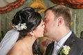 First kiss newlyweds Royalty Free Stock Images