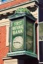 First National Bank Clock Stock Photo