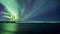 First northern lights of shining bright above lake kleifarvatn iceland on the january Royalty Free Stock Images