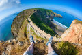First Person Perspective on Sark Isthmus Royalty Free Stock Photo
