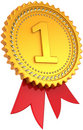 First place golden award with red ribbon Royalty Free Stock Photo