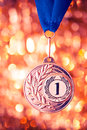 First place golden medal on shiny background Stock Photography