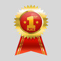 First place label gold and red with ribbon Royalty Free Stock Images