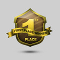 First place shield fist winner design Royalty Free Stock Photography