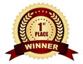First place winner badge st text on golden stamp with ribbon and laurel stars Royalty Free Stock Photography