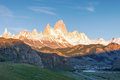 First rays of sun at sunrise over Mount Fitz Roy or Cerro Chalte Royalty Free Stock Photo