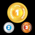 First second third place symbols gold silver bronze medals on black background Royalty Free Stock Photo