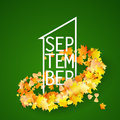 First september with autumn leaves background green bright maple shaped curve strip vector illustration back to school Stock Photography