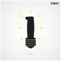 First sign number one silhouette light bulb symbol vector illustration contains gradient mesh Royalty Free Stock Image