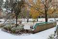First snow in city park salem oregon Stock Photography