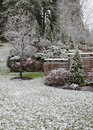 First snow in garden Stock Photography