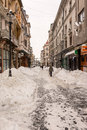 First snow over downtown bucharest romania january on january in romania lipscani is one of the busiest and Stock Photo