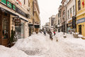 First snow over downtown bucharest romania january on january in romania lipscani is one of the busiest and Royalty Free Stock Photography